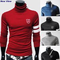 2015 New Brand Famous T shirt/T-Shirt Men Cotton long sleeves Highneck thicker Casual Autumn/Winer t shirt men Drop shipping