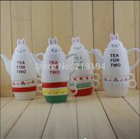 2014 New Arrival Creative Rabbit teapot cup set pot cup set ceramic teapot cup(One teapot,One pot lid,Two Cup)