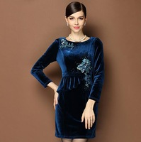 new women autumn and winter high-end European style velvet embroidery beading cultivating long-sleeved dress K00135