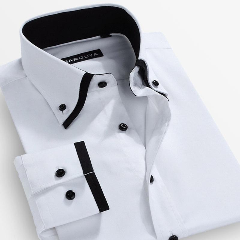 Mens camisas de vestido da marca Camisa Masculina Social Slim Fit Camisa dos homens manga comprida gola dupla grátis frete S-5XL(China (Mainland))
