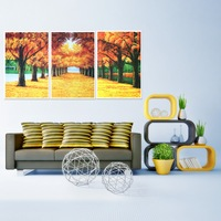 60*40CM  Golden Avenue Three-Picture Combination Canvas Painting Home New Year Christmas Art Decoration Drop Shipping