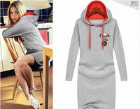 Popular women brand long sleeve plus size 4XL hooded mini dress women casual autumn hoodied grey dress