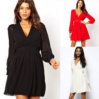 Free Shipping European Style Plus Size women Dress Long-sleeved V-neck waist chiffon dress Vestidos black white S-XXL SCF79