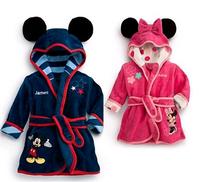 Free shipping Winter & Autumn Children's Cartoon Bathrobe Coral Fleece Baby Bath Robe Boys and Girls Coral velvet Robes
