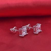 LSE940 jewelry 925 sterling silver earrings with screw back  zircon stone 6mm, free shipping