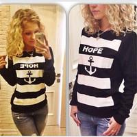 Hot Sale Sweatshirts Women's Hoodies Printed Anchor  Striped Casual Women Sweatshirt Autumn Winter Ladies Cotton Pullovers 30299