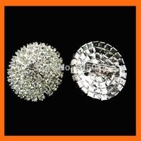 Free Shipping ! 100pcs/lot 28mm curve silver round rhinestone brooch pins for invitation ribbon