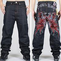 gradient Graffiti embroidery Cool Men's Hip Hop Jeans zipper Casual Pants Plus Size 30-42 skateboard robin mens pantalon homme