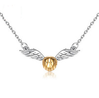 Fashion Girl Anime Harry Potter Golden Snitch 925 Silver Pendant Necklace For Women