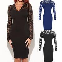 Hot Sales Plus Size 2014 Autumn New European Fashion Women Sexy Lace Slim Long Sleeve Celebrity Bandage Bodycon Party Dresses
