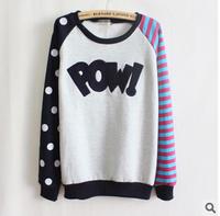 Sweatshirt 2014 New Autumn Women Fashion Polka Dot Printing Long-Sleeve Hoody O-neck Casual Pullover B194