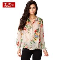 ECW 2015 Spring Vintage Women Shirts Fashion Blusas Femininas Loose Flowers Print Women Chiffon Blouses