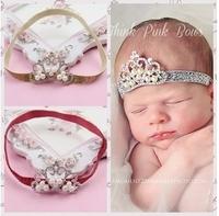 "Baby Girls Chirstmas Gift 3.5""Frozen Princess Crown Headband Chiffon Flowers Hair Band Free Shipping MOQ10pcs"