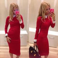 new 2015 winter dress women work wear women's casual winter dresses office clothing free shipping