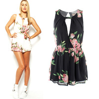 2014  New Fashion Macacao Feminino Summer Shorts Women Rompers Skyrise Playsuit Open Back Print Floral cropped sexy Jumpsuits