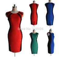 European American temperament Slim sleeveless O-neck contrast color stitching Wrap hip women dress