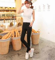 New Fashion Korea Zipper Leggings Elastic Women's Sexy Skinny Pencil Pants Black White Stretch Material Leggings Basic Jeggings