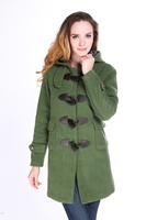 CHAREX US Size  Long Hooded Women Horn Button Women Wool Coat  Winter Trendy  Duffle Coat  Clothing