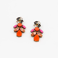 Occident Style Fashion Women Stud Earrings Crystal and Orange Resin Mosaic Earrings