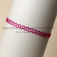 Free Shipping 1000pcs/lot New red Retro Henna Vintage Elastic Boho Tattoo Choker Stretch Necklace