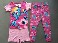 free shipping frozen girl anna and elsa 3 piece set pajamas pjs summer shorts top pant blue purple