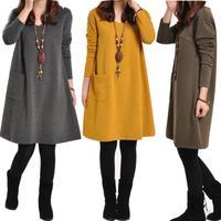 Free shipping Autumn Winter Fashion Korean Style Women Casual Dress Long Sleeve With Pockets Big Size Bottom Dress M-XXL #ZFC804
