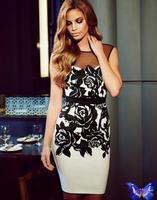 Vestido De Festa 2014 New Women Clothes Patchwork Tulle Printed Dress Backless Club Dress White Bodycon Vestidos Plus Size
