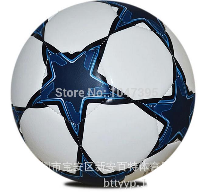 Wholesale Champions League Best Quality Train Brand PU Mechanically Stitched Match Or Training Soccer Ball Football+FreeShipping(China (Mainland))
