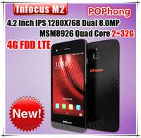 4.2 inch 1280*768 InFocus M2 FDD LTE MSM8926 1GB RAM 8GB ROM Quad Core Dual 8MP Phones Android 4.4