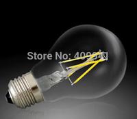 4W E27 A19 220V 110V LED Filament bulbs Light Clear Glass Housing LED Lamp high brightness 360 Degree 10pcs a lot