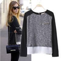 Plus Size 4XL 2014 Blusas Femininas Shirts Women Chiffon Blouses Stitching Work Wear Long Sleeve Zipper Split Division Tops F106