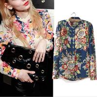 2014 Hot Sale Fashion Vintage Floral Print Pattern Chiffon Blouse Women Long Sleeve Shirt Tops 2 Colors Drop Shipping B-2058