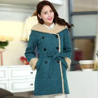 XL-5XL Vintage Double Breasted Belt Fur Liner Feminino Wool Outerwear Duffle Overcoat Hooded Long Thick Women Winter Woolen Coat