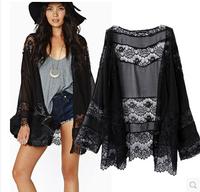 Plus size Fashion women elegant black chiffon kimono lace decoration patchwork long-sleeve cape outer wearroupas femininas