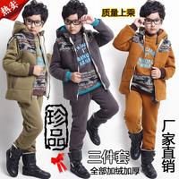 Children's clothing winter male child sweatshirt set child boy winter 100% cotton fleece thickening piece set