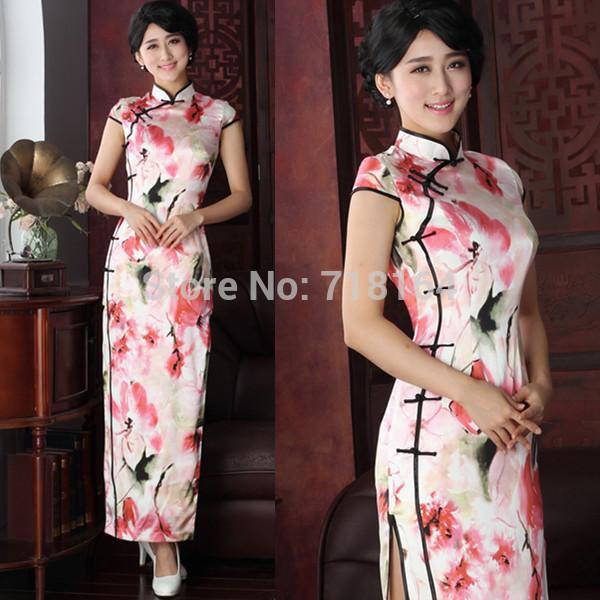 Vestido de festa sexy vintage real silk long Qipao chinese traditional dress cheongsam ladies formal special occasion dress(China (Mainland))
