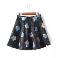 Korean Fashion New Flowers Pattern Girl Winter Spring Skirts Elastic Waist YS93220