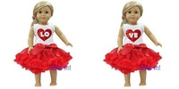 """Twins 18"""" American Girls Doll Red Pettiskirts Heart LOVE Tees Clothes"""