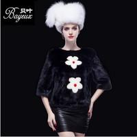 2014 New Women Winter 100%real Fur jacket Fashion import Whole Mink Brief Paragraph Mink Fur coat  2 Color
