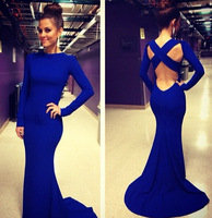 2014 Hot Sale Fashion Lady Sexy Vestidos De Fiesta Scoop Neck Long Sleeves Open Back Royal Blue Mermaid Long Evening Dresses