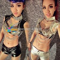 Fashion dance clothes punk rivet chain vest ds costume costumes