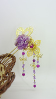 Lovely Gold plate butterfly flower purple resin tassel hairpin hair accessory