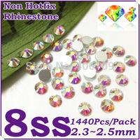 Super Shiny 1440PCS SS8 (2.3-2.5mm) Glitter Non Hotfix Crystal White AB Color 3D Nail Art Decorations Flatback Rhinestones