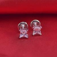 LSE938 925 silver Stud Earrings Solid Screw Back earring zircon stone 4mm, free shipping
