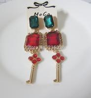 New design key long earrings luxury square glass beads stud earrings for women fashion rhinestone earrings charm jewelry 2015