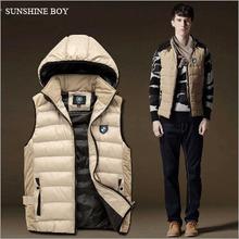 Sunshine Boy Spring New Brand 2015 Men Down Vest Casual Winter Hat Detachable Waistcoat Men's veste Sleeveless Jacket Size M-3XL(China (Mainland))