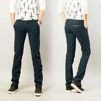 Mens Korean Stylish Blue Dots Fashion Slim Fit Pencil Pants Casual Skinny Trousers