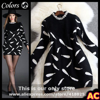 2015 winter spring designer new women's dresses black knitted top white feather print beading collar fashion vintage brand dress