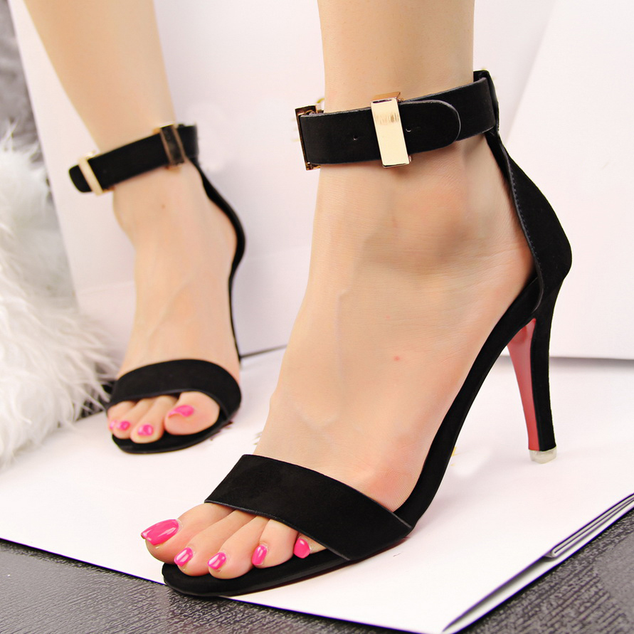 Red Ankle Strap High Heels