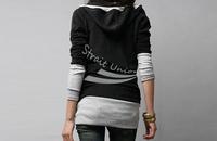 2013 Korea Women's Sweatershirts Fashion Long Sleeve Shirt Cotton Tops Hoodies Coat Outerwear Black&Gray free shipping 2312